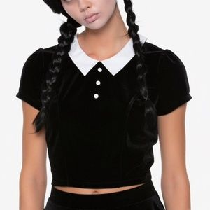 Wednesday Addams Crop Top & Witch Hat Pin
